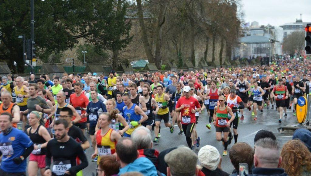 Runners at the Boston Marathon