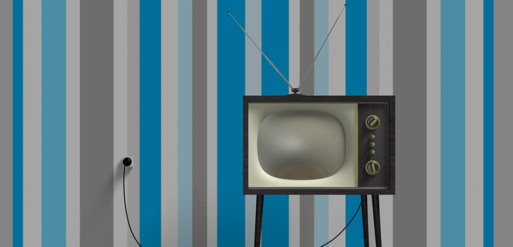A vintage television set against striped wallpaper.